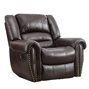 Awe Inspiring Bonzy Oversized Recliner Chair Theater Leather Cover Living Room Lounge Chair Brown Inzonedesignstudio Interior Chair Design Inzonedesignstudiocom