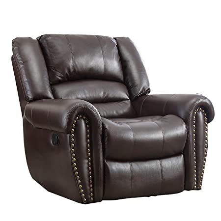 BONZY Oversized Recliner Leather Cover Living Room Lounge Chair, Brown