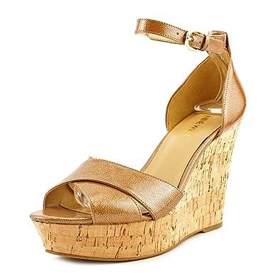 Nine West Womens Jazmino Ankle Strap Platform Wedge Sandals Indi Nat Sz  9.5 M