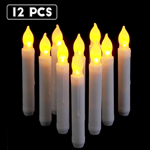 Raycare 12pcs LED taper Candle Lights, Harry Potter, velas flotantes, pilas velas LED para fiesta, aula decoraciones