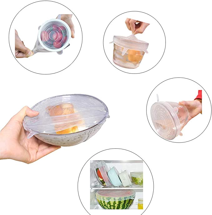 Varios Tama/ñOs de Fundas para Alimentos Tazones Boles o Tarros Blanca Rosado Reutilizable Sin BPA Fundas Protectoras para Alimentos Tapa Tazas Vibeey Tapas de Silicona El/ásticas 12 Paquetes