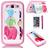 S3 Case, JCmax New Cute High Quality TPU Case [Perfect Fit] [Leather Kickstand Design] Soft Flexible Back Shell Cover For Samsung Galaxy S3 i9300 ¨CElephant