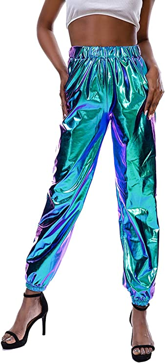 80s Jeans, Pants, Leggings Zaxicht Womens Metallic Shiny Jogger Pants Casual High Waisted Harem Pant Holographic Color Hip Hop Trousers Streetwear $22.99 AT vintagedancer.com