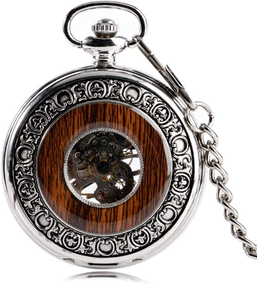 SDVIB Reloj de Bolsillo Cool Xmas Gift Silver Hand Wind Luxury Steampunk Windup Mechanical Pocket Watch Wood Style Circle Vintage Style Special Design
