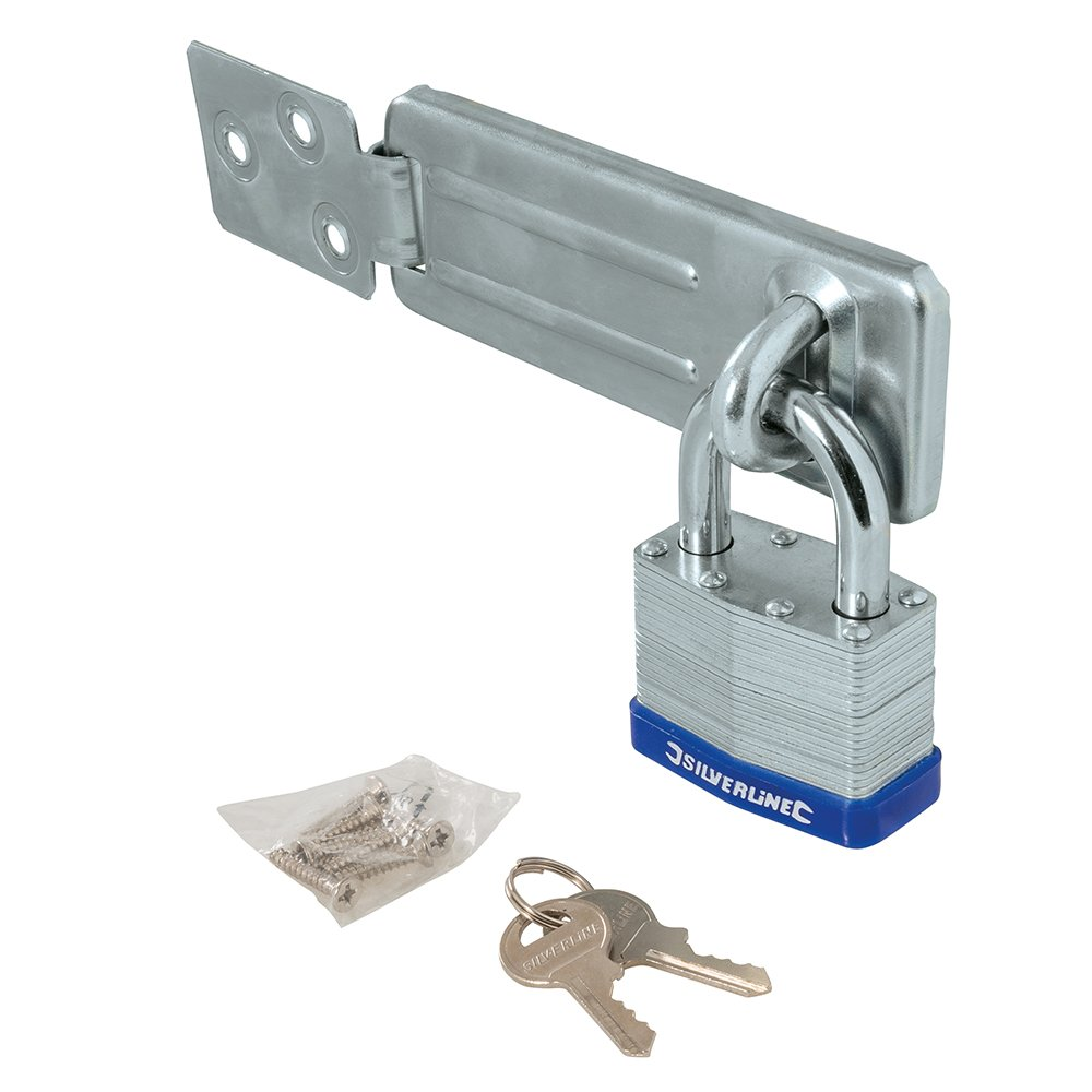 Set of 2 Pieces Silver Silverline Tools 786551 Padlock /& Hasp Set Laminated 2pce 50mm