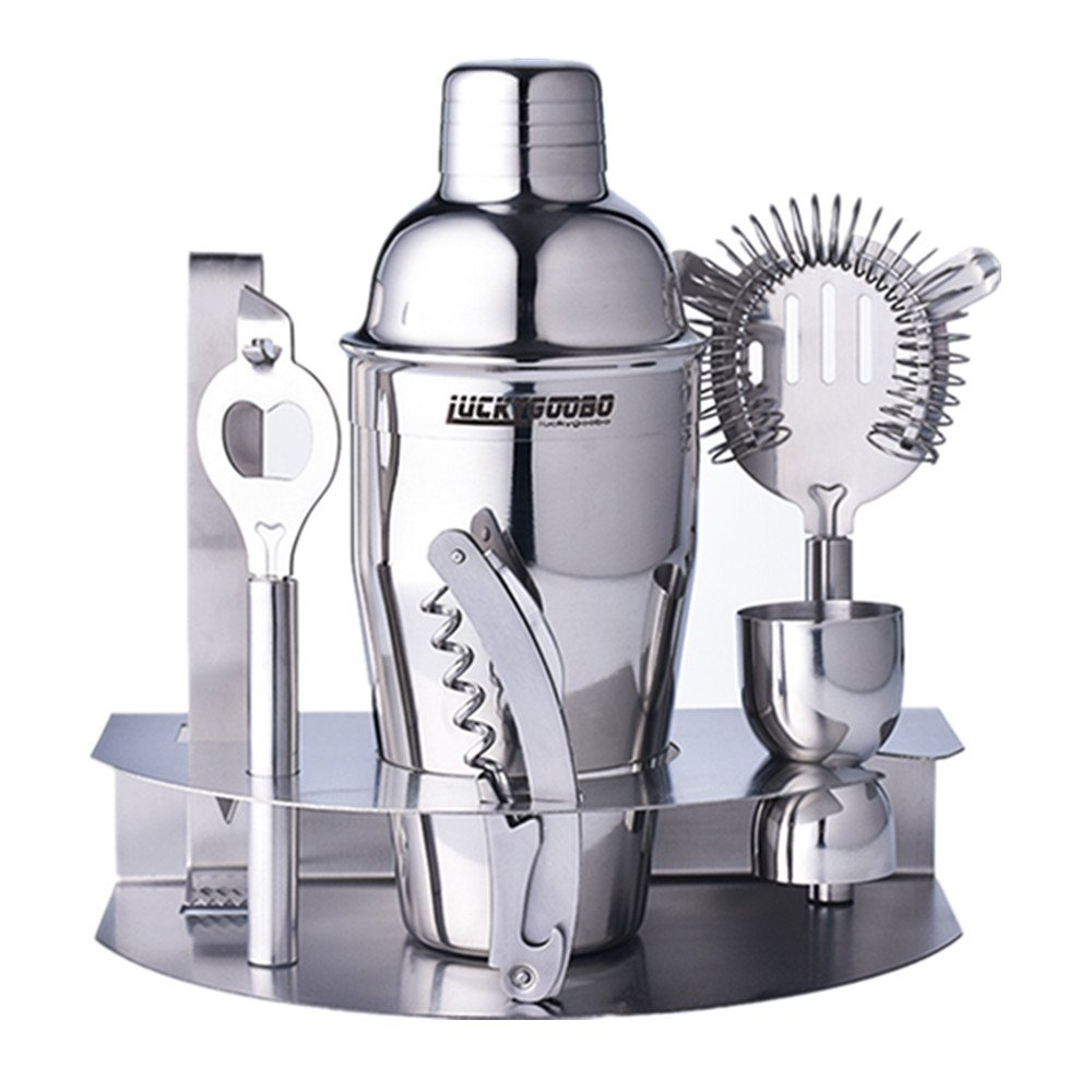 Luckygoobo Cocktail Bar Set 100% Stainless Steel 7 Piece Bar Tool Set – With 18.7 oz Bartenders Professional Shaker, Strainer, Jigger, Liquor Pourers,Opener ,Lce Clip and More