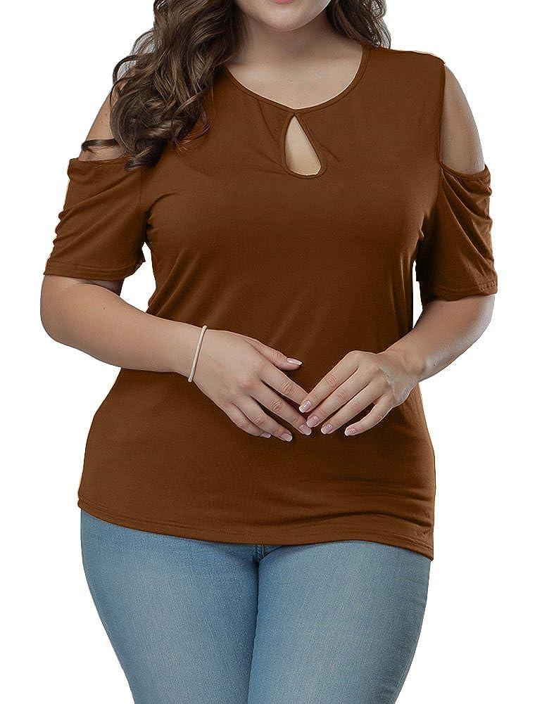 Allegrace Women's Plus Size Keyhole Front Short Sleeve Top Cold Shoulder T Shirt AG312