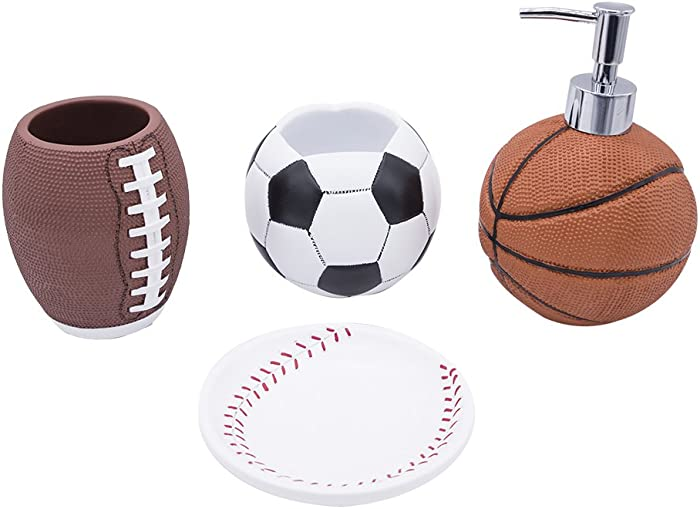 YangShiMoeed 4-Piece Sports Bathroom Accessories Completes with Basketball Lotion/Soap Dispenser,Soccer Bath Cup/Tumbler,Base Ball Soap Dish,Football Toothbrush Holder (Golden)