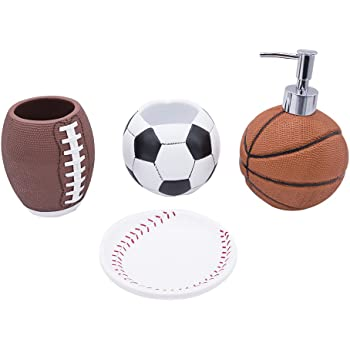 Charming Bathpro 4 PIECE Sports Bathroom Accessories Completes With Basketball  Lotion/Soap Dispenser,Soccer Bath Cup/Tumbler,Base Ball Soap Dish,Football  Toothbrush ...