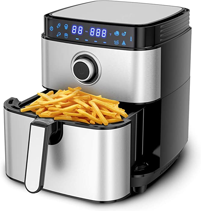 8-in-1 Air Fryer, MOOSOO Electric Air Fryer Oven 1500W, 4.7 Quart Stainless Steel Air Fryers Oven, Digital LCD Screen with Time/Temp Control, Auto Shutoff & Overheat Protection, Nonstick Basket, 100 Recipes & 3 Accessories