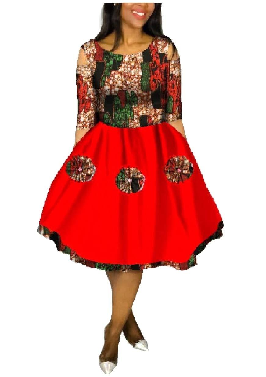 NestYu Women Dashiki Fine Cotton African Printed Stitch Backless Dress 7 XL