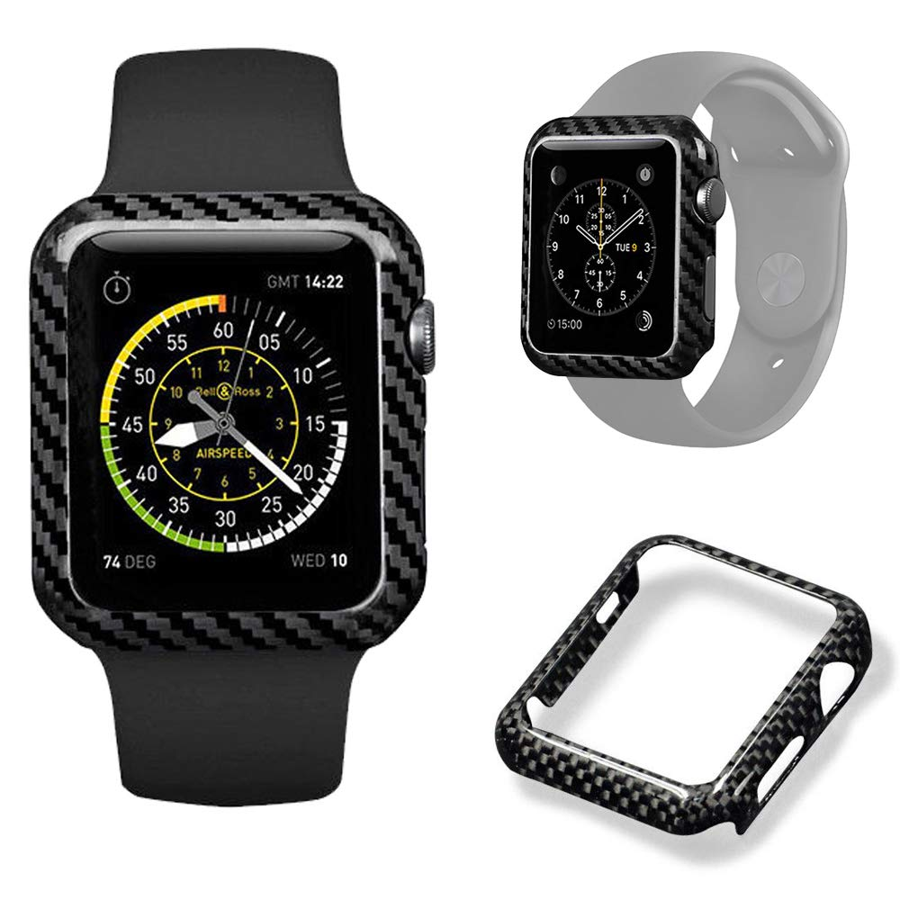 Authentic Carbon Fiber Watch Case for Apple Watch Series 2/3,Durable Shockproof iWatch case High-Gloss/Twill Weave Finis (42mm) by xihaiying
