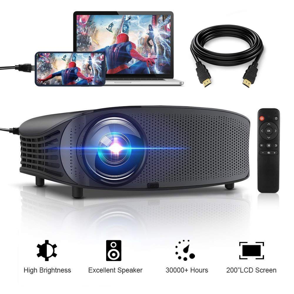 HD Projector, GBTIGER 4000 lumens LED Video Projector, Full HD 1080P Support, 200'' Display, Compatible with Fire TV Stick PS4 HDMI USB VGA AV with HDMI Cable