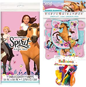 "Spirit Riding Free Themed Party Decorations – Includes Party Banner,Tablecloth and Ten 12"" Balloons."