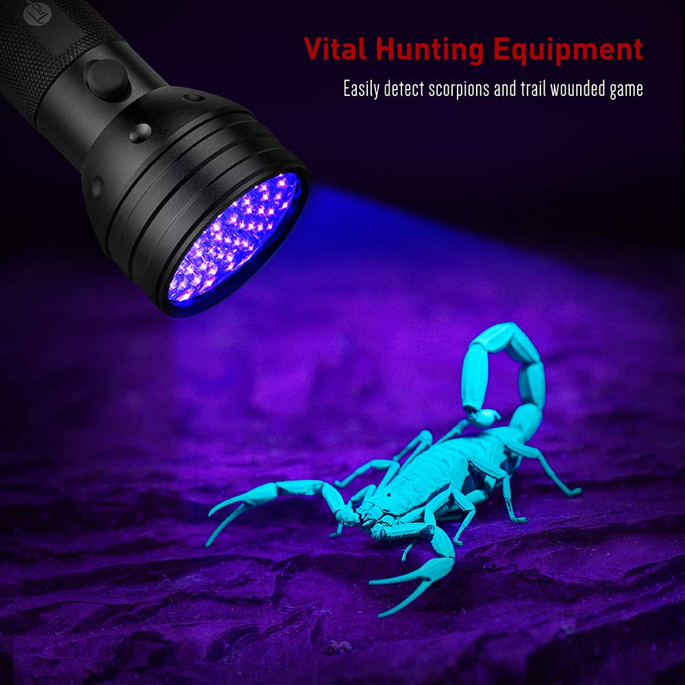 TaoTronics UV linterna negro luces, 51 ultravilot detector de orina para perros, libre UV gafas de sol y Duracell pilas incluidas, mascota manchas Detector, ...