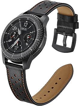 Aottom para Correas Galaxy Watch 46mm, Correa Samsung Gear S3 Frontier Cuero, Correas Samsung Gear S3 Classic 22mm Reemplazo de Pulseras de Repuesto de Hebilla Acero Inoxidable Strap - Negro: Amazon.es: Deportes