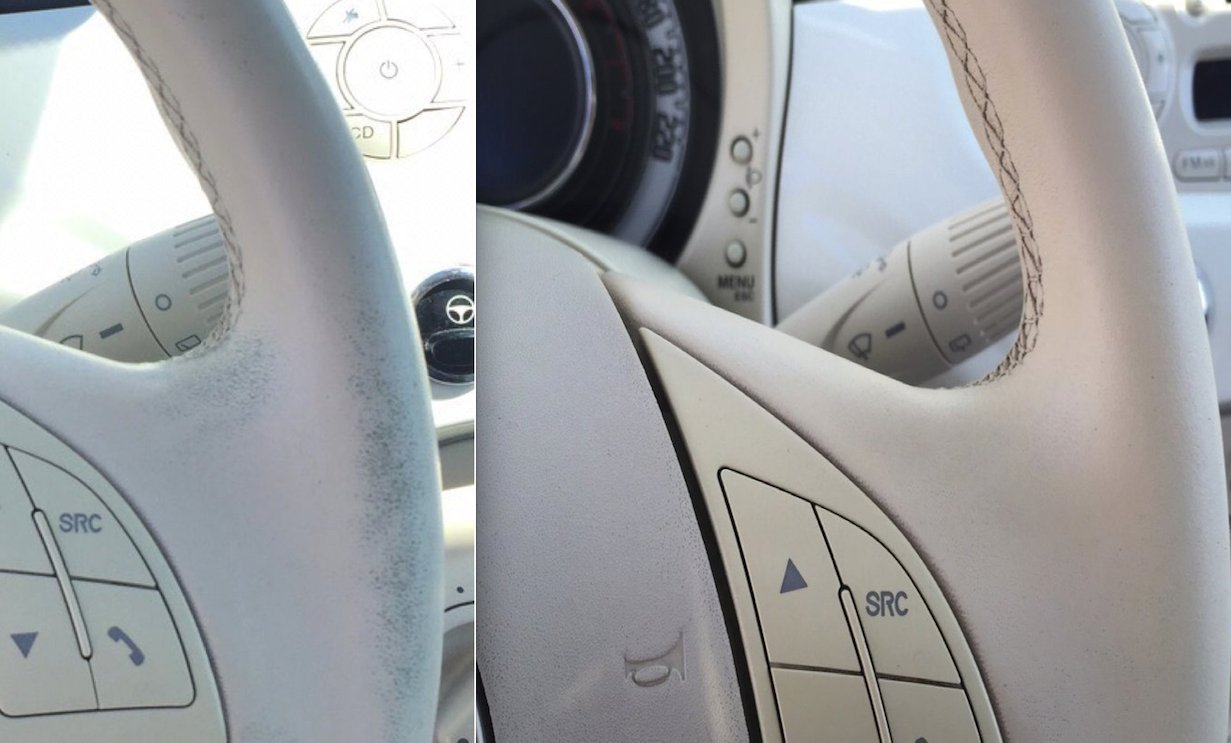 Colourcare24 Pu Faux Leather Steering Wheel Retouch Wear Paint Kit Ivory Restores Colour Code Steering Tone Beige Ivory Matt Satin Diy Easy
