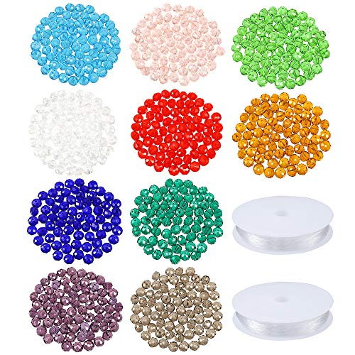PP OPOUNT 700 Pieces 8mm Crystal Glass Beads Faceted Beads in 10 Colors with 2 Pack Bracelet String for Jewelry Making