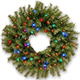 National Tree 24'' Norwood Fir Wreath with Multicolor LED Lights