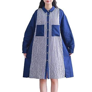 fc9e4452bf Olprkgdg Vestido de algodón y Lino Falda Plisada de Color sólido con  Volantes (Size   XXL)  Amazon.es  Hogar