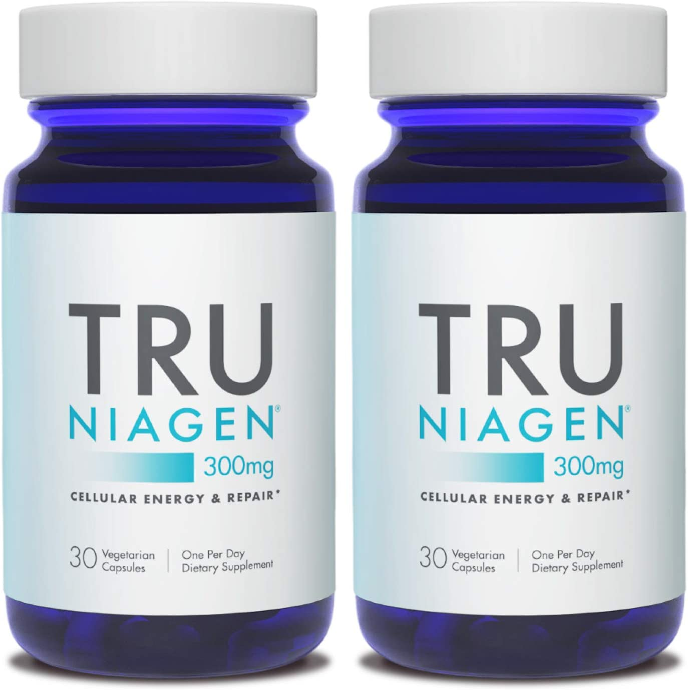 TRU NIAGEN NAD+ Booster for Cellular Repair & Energy Metabolism (Nicotinamide Riboside) - 300mg Vegetarian Capsules, 300mg Per Serving - 30 Day Bottle (2 Pack)