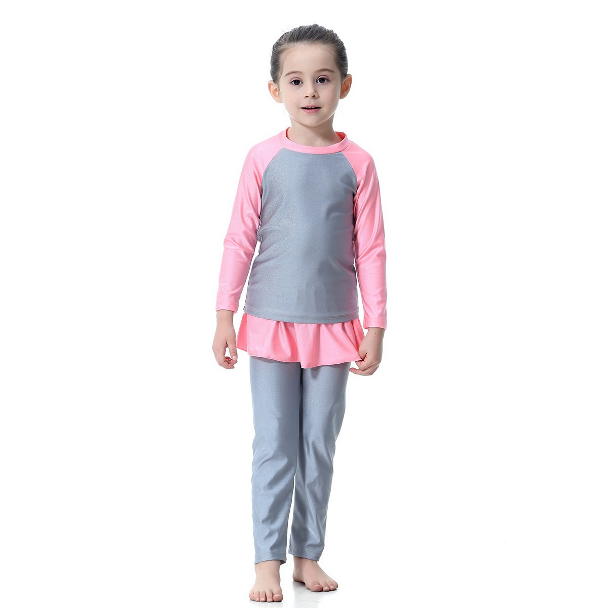 XDXART Modest Muslim Swimsuit Long Sleeve Pants Beachwear Spring and Fall Islamic Costume for Girls