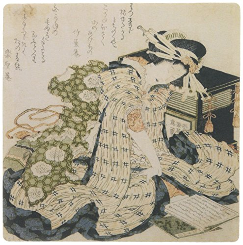 3dRose 8 x 8 x 0 25 Inches Hokusai Vintage Wood Print Courtesan Asleep Mouse Pad (mp_162972_1)
