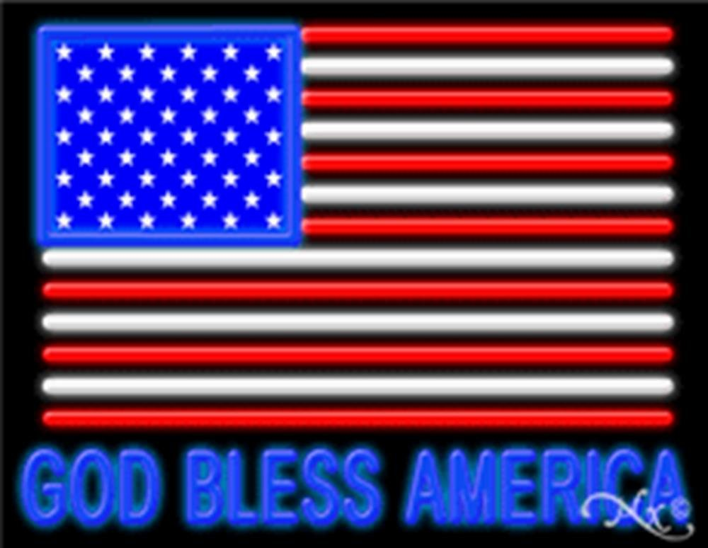 24x31x3 inches God Bless America NEON Advertising Window Sign by Light Master