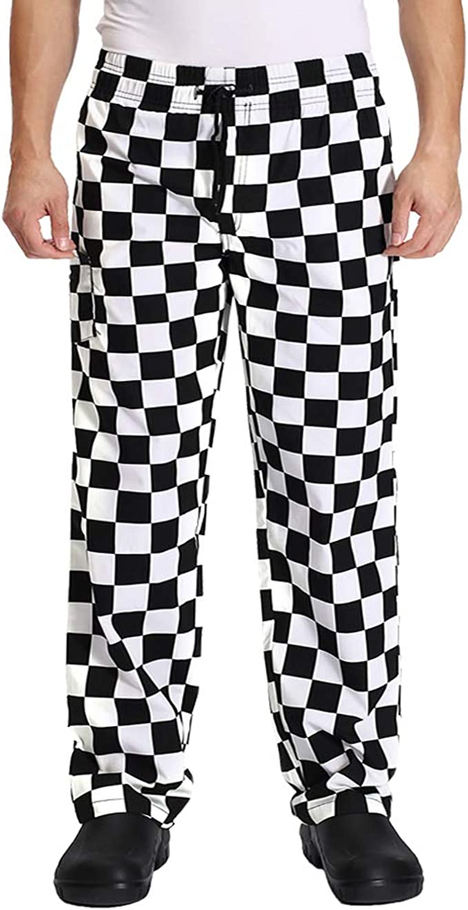Men S Black And White Checkerboard Print Chef Pants With Elastic Waist Drawstring Baggy Chef Uniforms Clothing