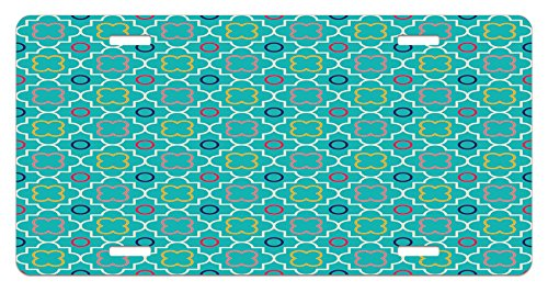 Teal License Plate by Lunarable, Traditional Quatrefoil Lattice Pattern Artwork with Moroccan Geometrical Shapes, High Gloss Aluminum Novelty Plate, 5.88 L X 11.88 W Inches, Green Yellow - Traditional Lattice
