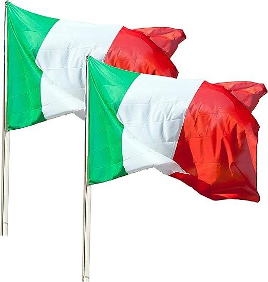 KliKil Bandera Italia Grande - Pack de 2 Banderas, Bandera de Italia Balcon, Bandera Italiana para Exterior Jardin y Mastil, Italy Flag - 150x90 cm: Amazon.es: Jardín