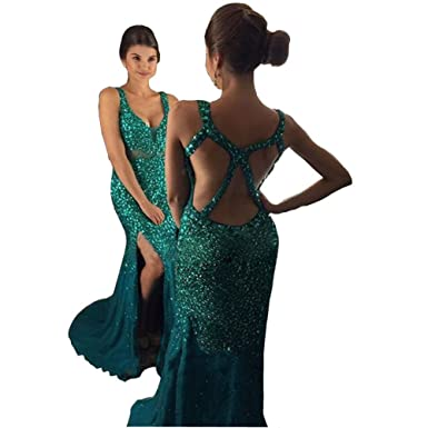 TBNA Bridal Mermaid Sweetheart Bead Backless Evening Dresses Prom Dress Pageant Formal Gowns (Green,