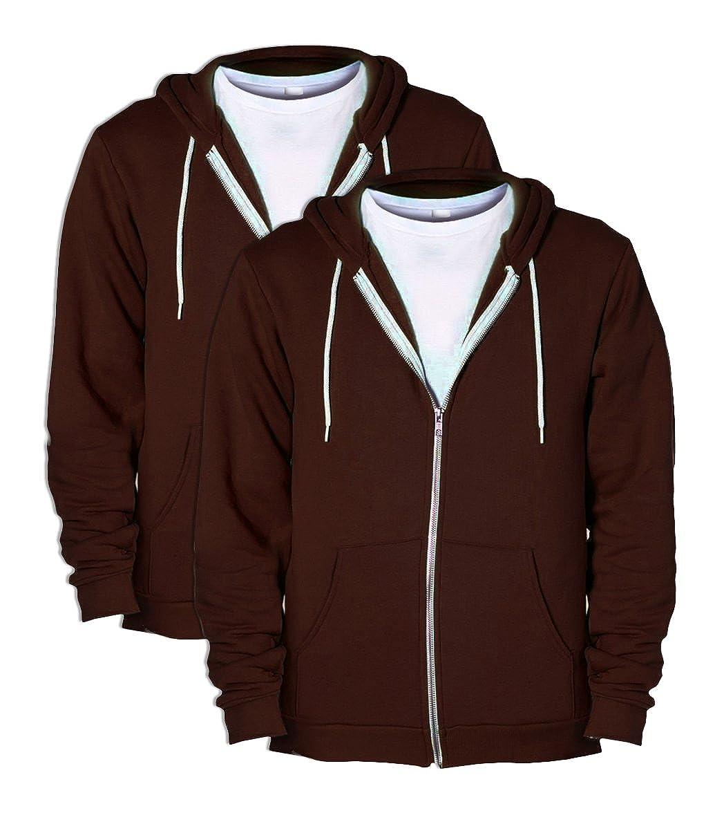 American Apparel F497 Unisex Flex Fleece Zip Hoodie XX-Small Brown 2 Pack