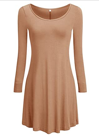 bf52ea549e Tooklanet Women s Long Sleeve O-Neck Casual Loose T-Shirt Dress Coffee S by