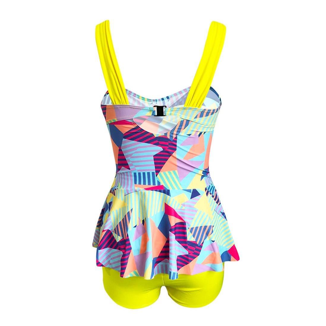 Rambling Women's High Waist Conservative Geometry Blocks Printing Swimdress Swimsuit Plus Size Swimwear S-5XL by Rambling (Image #5)