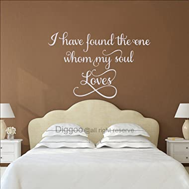 Diggoo I Have Found the One Whom My Soul Loves Solomon Wall Decal Religious Wall Decor Christian Wall Art Wedding Gift (White,19.5  h x 30  w)