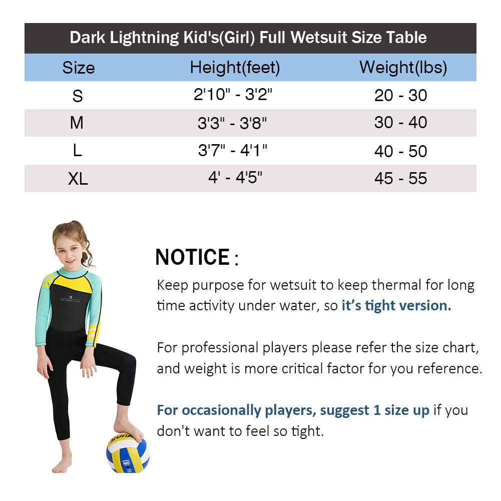 dark lightning Kids Wetsuit Full Thermal Suit, Grils Neoprene One Piece Fishing Suits, 2mm Long Sleeve Swimsuit for Children Scuba Diving, Surfing, Paddling, Swimming, Blue, XL Size by dark lightning
