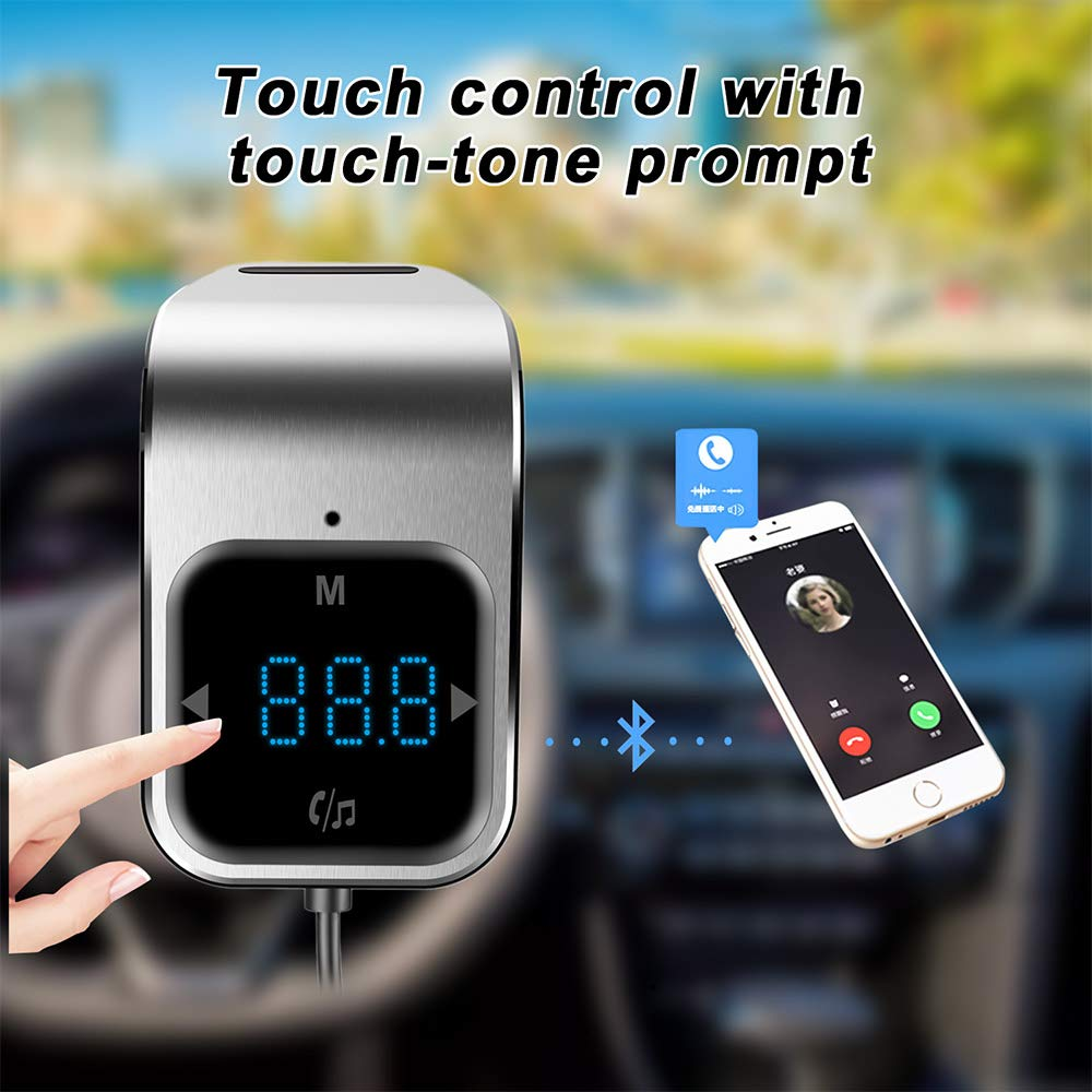 Silver 4351492004 SEN-KEY Bluetooth FM Transmitter,LED Display Bluetooth Adapter for Car,MP3 Stereo Music Play Bluetooth Radio Transmitter,Wireless Connections FM Radio Transmitter for Car and Smartphones