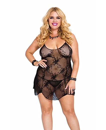 7f95362b6f1 Amazon.com  Music Legs Women s Plus Size Red Floral Lace Chemise Black  Queen  Clothing