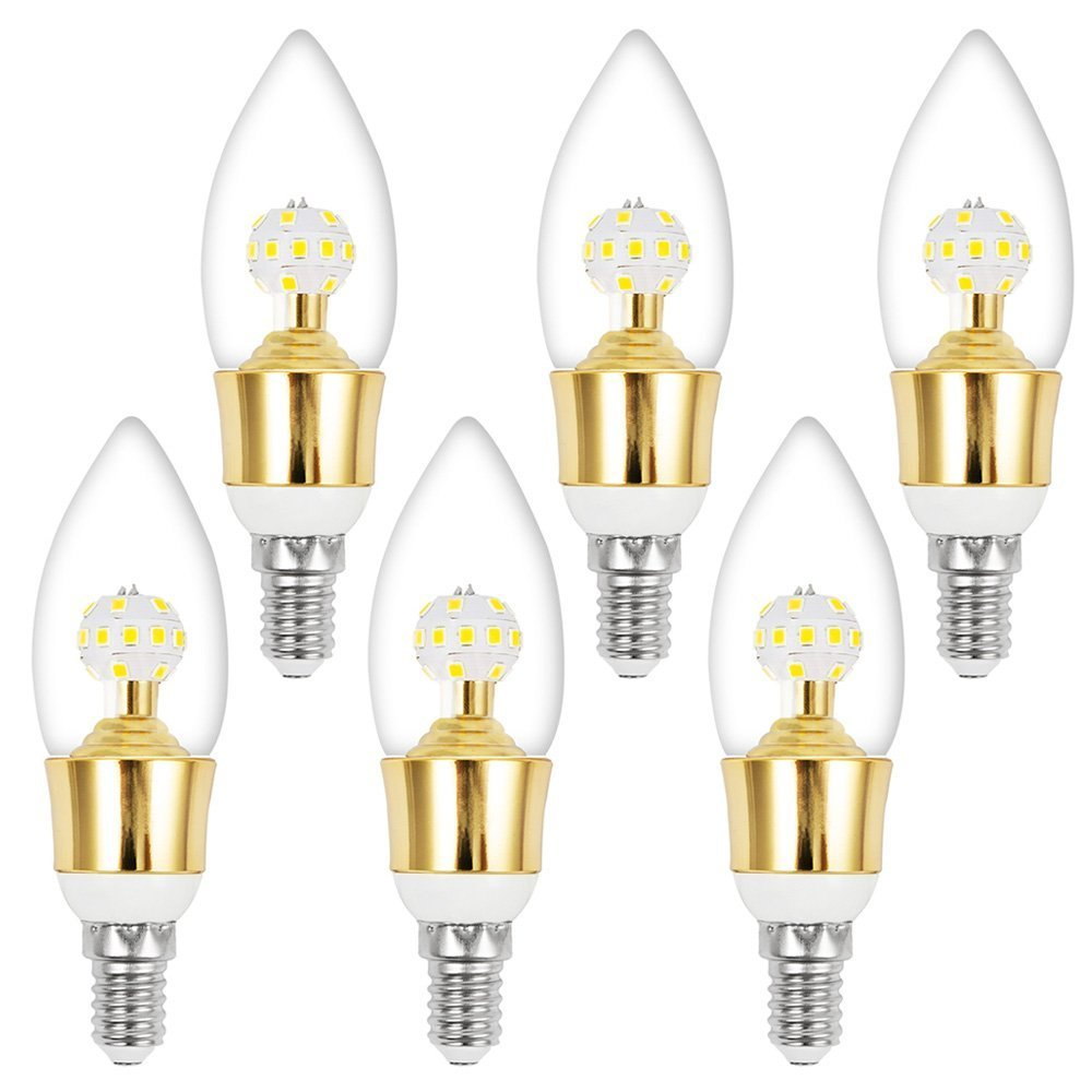 ELEOPTION E12 Base Dimmable Candelabra LED Bulb 10Watt(100 Watt Equivalent) Decorative Candle LED For Home Lighting (Sharp Tip, Pack of 6)