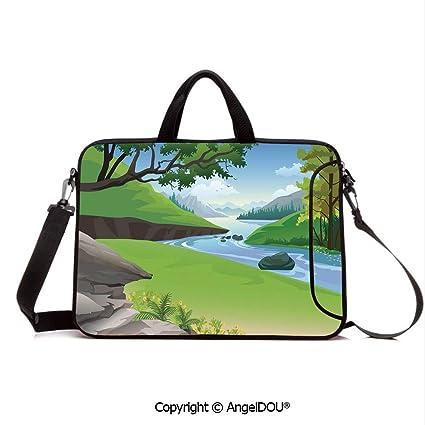 9fc667f4b935 Amazon.com: AngelDOU Neoprene Printed Fashion Laptop Bag Lake View ...
