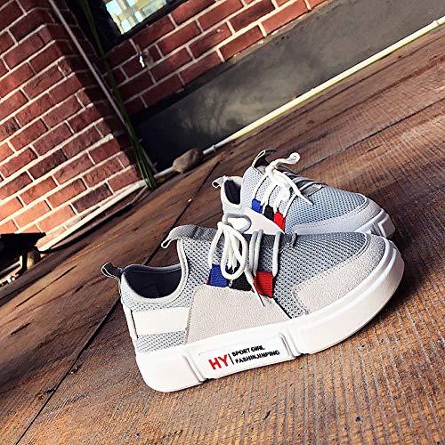 Deporte Zapatos Poliuretano Zapatillas Punta Mujer de Negro y Gris Punta Blanca Gray con Malla de caída Redonda ZHZNVX PU wfxdq8HHX