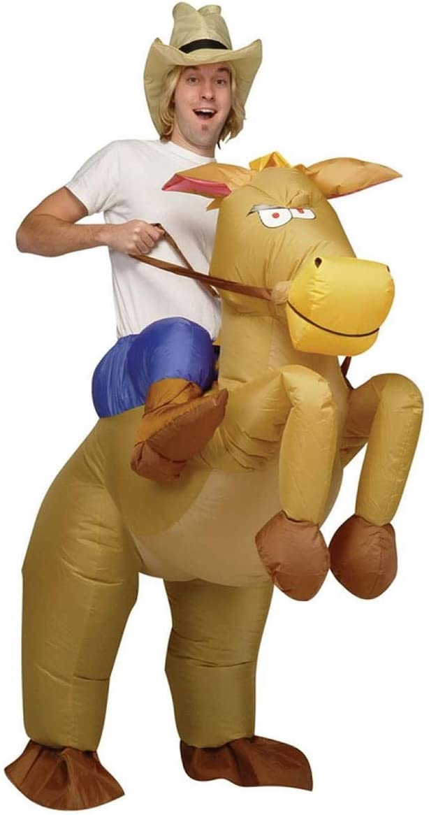 INFLATABLE COWBOY ON HORSE RIDING ADULTS FANCY DRESS PARTY HALLOWEEN COSTUME NEW (disfraz)