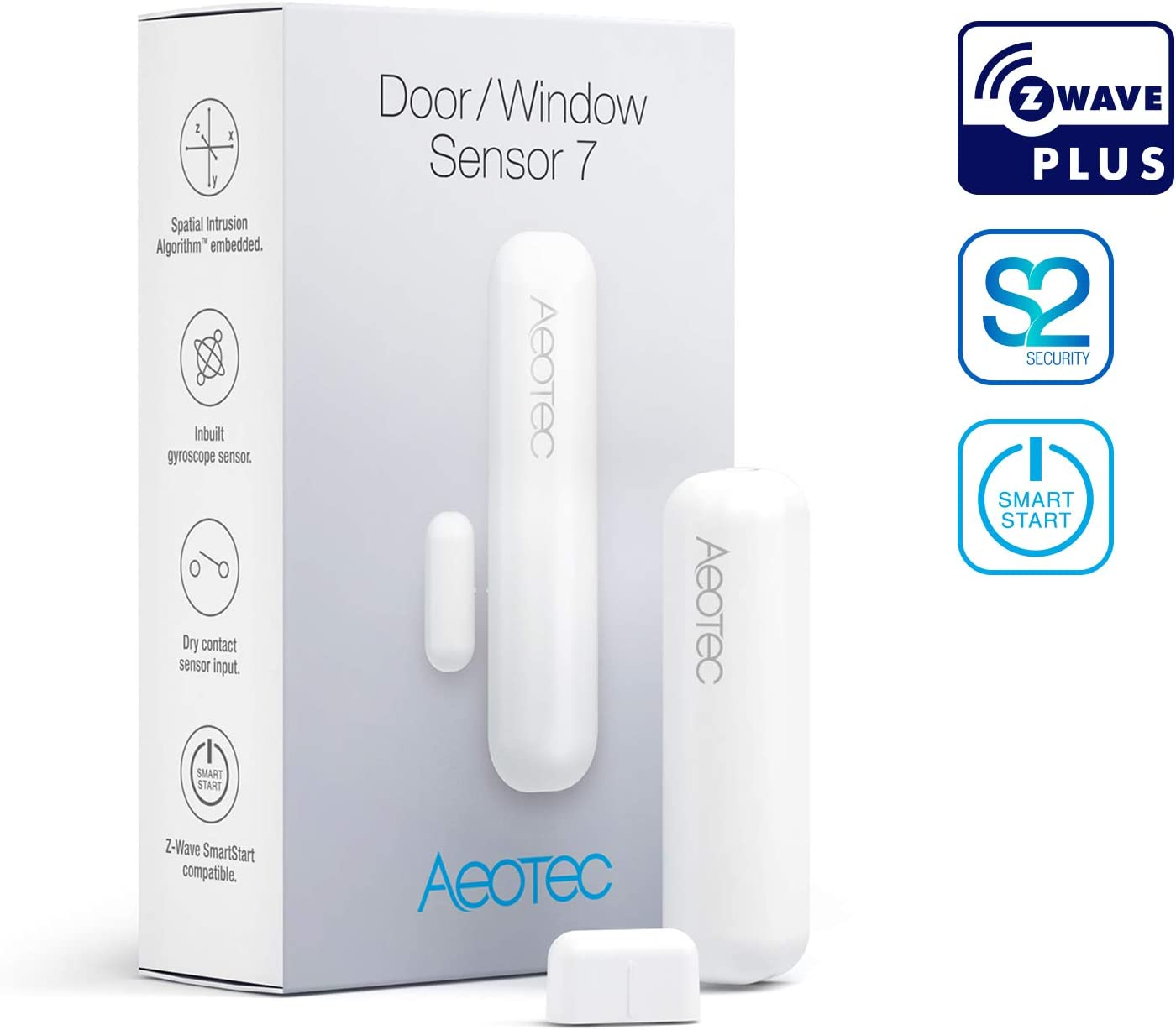 Aeotec Door/Window Sensor 7, Z-Wave Plus S2 Smart Start, 3-in-1 with Dry Contact & Gyro sensor, 3 Year Battery Life, White