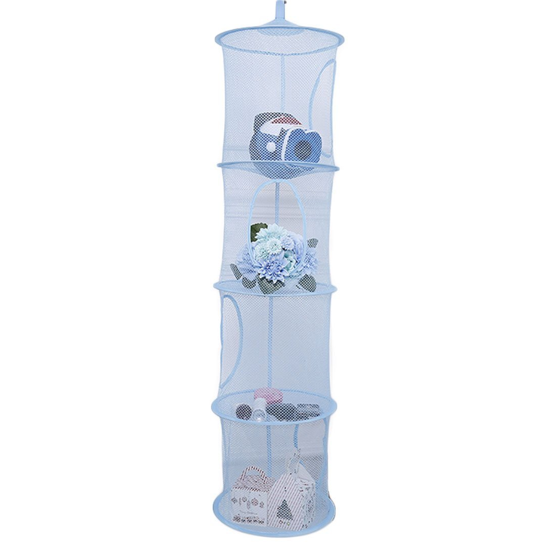 mingcheng 4 Tier Foldable Hanging Basket Cloth Mesh Toy Storage Net Bag - Blue