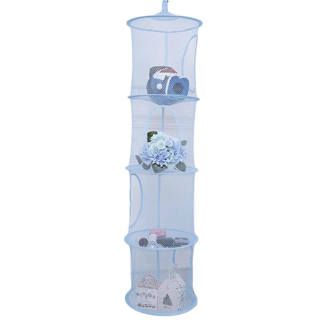 mingcheng 4 Tier Foldable Hanging Basket Cloth Mesh Toy Storage Net Bag - Blue