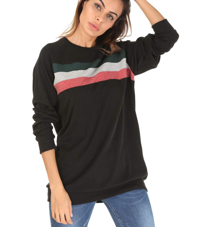 Women's Color Block Long Sleeve Casual Shirt Lightweight Tunic Sweatshirt Tops (Small, Black-03)