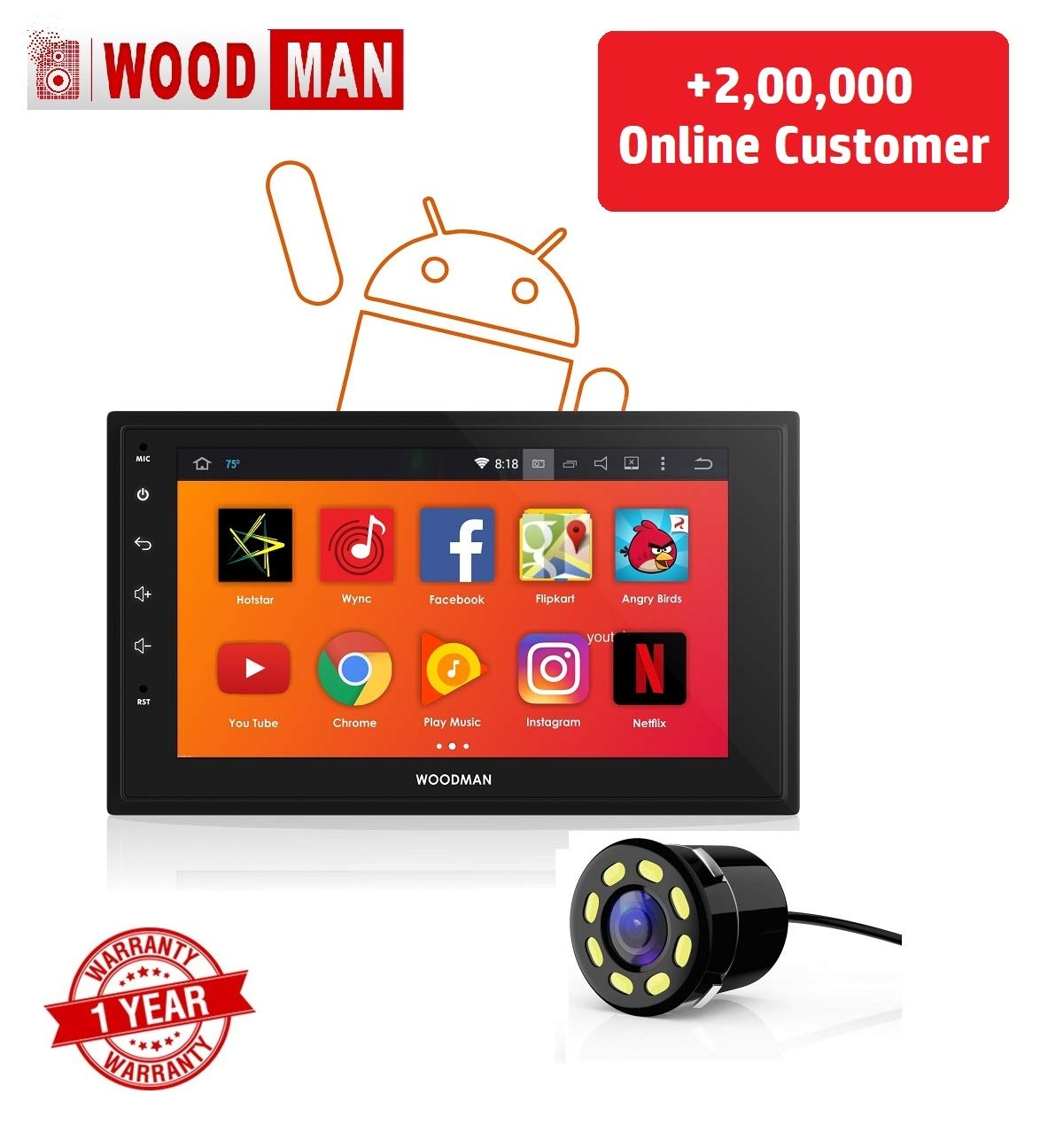 Woodman Android Car Stereo with Bluetooth/GPS Navigation and USB Touch  Screen Double Din Full HD with Car Rear View Camera (1 GB/16 GB)- Buy  Online in Bahamas at bahamas.desertcart.com. ProductId : 100900371.