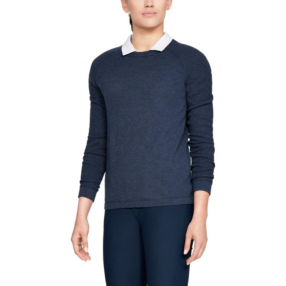 Under Armour Women's Threadborne Crew Sweater, Academy Fade Heather (408)/Academy, Large by Under Armour