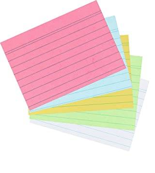 Herlitz 1,000 Index Cards in A8 Colored Sort Ruled by 1 Din   Lined Sorted